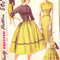Simplicity 1412 Vintage 1950s Bateau Neck Dress with Slim or Full Skirt and Jacket Sewing Pattern Sz 14