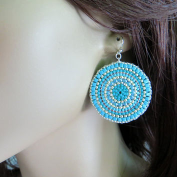 Turquoise and Silver Disc Earrings. Large Seed Bead Earrings. Beaded Earrings.  Beadwoven Earrings. Beadwork.