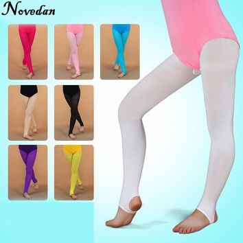 Girls Ballet Stirrup Tights Spandex Gymnastics Yoga Dance Fitness Pants Children Ballet Pantyhose Convertible Tights With Holes