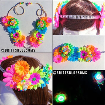 NEON Blossom Crown, Flower Halo, Flower crown, Flower headband, Festival, Hippie Headband, Coachella, Rave, Bridal