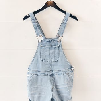 Hailey Lightwash Denim Overalls