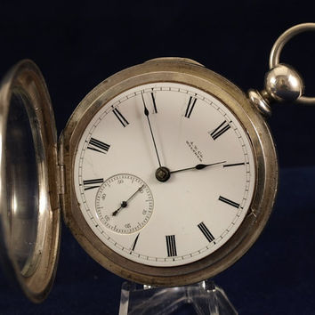 "A.M. Waltham Watch Co. ""Wm. Ellery"" Grade, Solid Coin Silver Case. Pocket Watch. 11 Jewels,  Key Wind Key Set, 1877.."