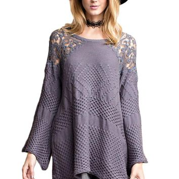 Crochet Shoulder Back Sweater Tunic