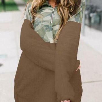 New Coffee Patchwork Camouflage Zipper Pockets Mock Collared Casual Pullover Sweatshirt