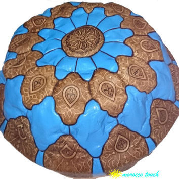 Moroccan Pouf Leather Pouf  blue Leather Pillow Ottoman Poof Pouffe Pouffes hassock Footstool Ottomans Foot stool Chair