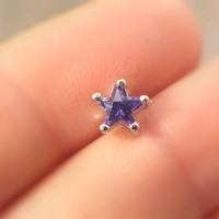 16 Gauge Purple Crystal Star Stud Cartilage Earring