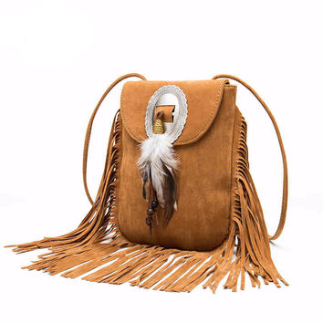 Bohemian Fringe & Feather Handbag
