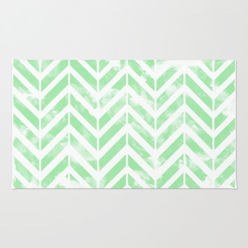 Shabby Green Chevron Area & Throw Rug by Uma Gokhale | Society6
