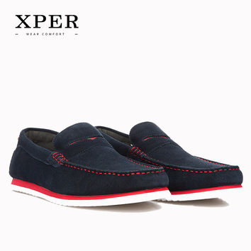 Brand Men Shoes Loafers Flats Moccasins Slip-on Casual Business Shoes Blue Luxury Leather