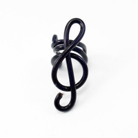 Treble clef Ear cuff in wire wrapped aluminium. (wire wrapping aluminum) Choose your color.