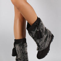 Soda Suede Tassel Faux Fur Shaft Mid Calf Boots