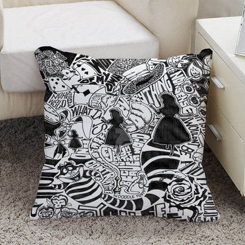 Alice in Wonderland Pillow case size 16 x 16, 18 x 18, 16 x 24, 20 x 30, 20 x 26 One side and Two side
