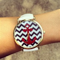 White Chevron Anchor Watch