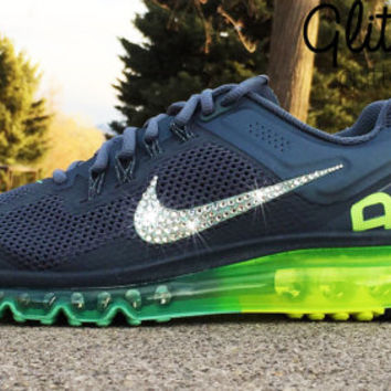 Bling Nike Air Max 2013+ Glitter Kicks Running Shoe with Hand Customized Swarovski Crystal Elements Rhinestone Swoosh Grey Volt Green