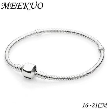 2018 New Antique Silver Snap Clasp Snake Chain Charm Fit pandora Bracelet For Women Bangle European DIY beads Necklace CL01