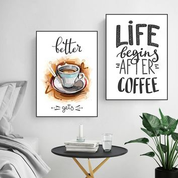 Modern Paintings for the Kitchen Poster Wall Art Pictures Quotes Life Begins after Coffee Canvas Prints for Living Room Unframed