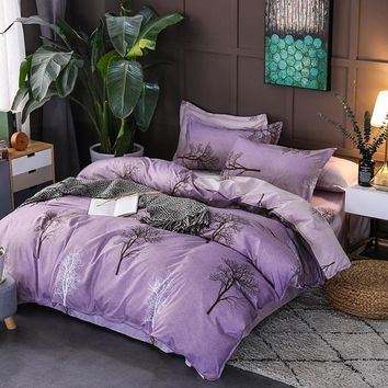 Fashion3/4pcs bedding sets bedclothes for kids twin full queen king size tree purple bed linen Duvet Cover Bed sheet Pillowcase