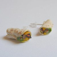 California Burrito Miniature Food Earrings - Miniature Food Jewelry,Handmade Jewelry Earrings,Mini Food Jewelry,Food Jewellery,Food Earrings