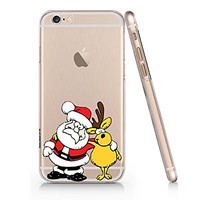 Santa Claus and Reindeer Merry Christmas Transparent Plastic Phone Case for iphone 6 6s