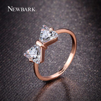 NEWBARK New Cute Butterfly Bowknot Rings For Women With AAA CZ 18K Rose Gold Plated Rings Fashion Jewelry Best Gifts