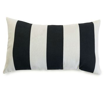 Black Vertical Stripe Small Pillow