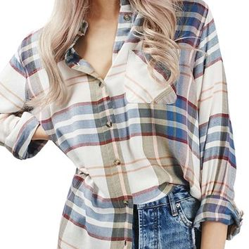 Topshop Plaid Chest Pocket Shirt | Nordstrom