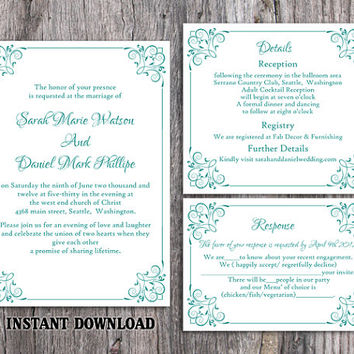 DIY Wedding Invitation Template Set Editable Word File Instant Download Printable Floral Invitation Blue Invitation Turquoise Invitations