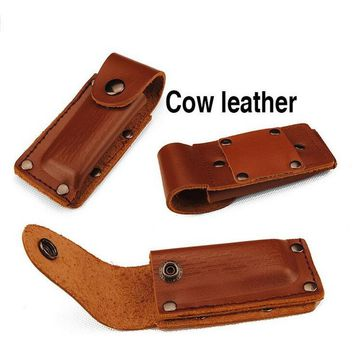 Cow Leather Brown Leather Knife Pouch Swiss Army Knife Thick Gift Hunter High Quality Rivet EDC Outdoor Portable Bags small