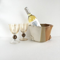 Gorgeous Vintage Stoneware Ice Bucket or Wine Chiller Signed by Artist