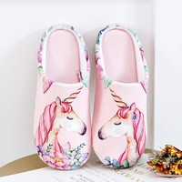 Autumn Winter Women House Slippers Cute Unicorn Slip on Memory Foam Home Slippers Indoor Shoes Women Couple Zapatillas Mujer