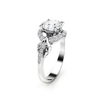 Diamonds Halo Moissanite Engagement Ring 14K White Gold Ring Art Nouveau Promise Ring