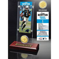 Cam Newton Ticket & Bronze Coin Acrylic Desk Top