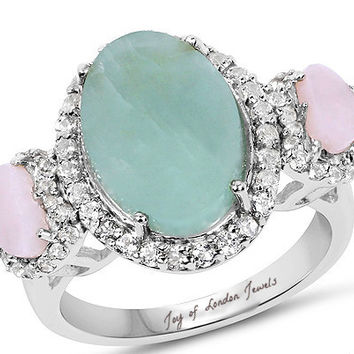 Vintage 4.76CT Natural Milky Aquamarine Pink Opal White Topaz Halo Engagement Ring