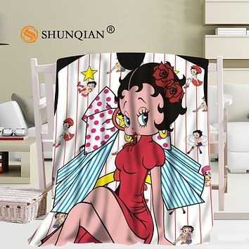Custom betty boop blanket Flannel Falafel Fabric58x80inch 50X60inch 40X50inch Sofa Bed Throw Blanket Kid Adult Warm Blanket
