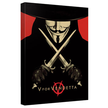 V For Vendetta Stretched Canvas Wall Art