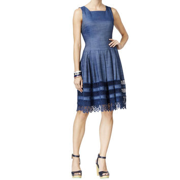 Tommy Hilfiger Womens Denim Lace Casual Dress