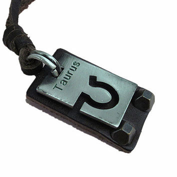 soft leather necklace TAURUS constellation necklace men's leather long necklace, women's leather necklace friendship gift  FPL-8