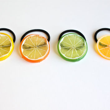 Super Cute Lemon Fruit Hair Accessory for Summer. Lovely Lemon Hair band in 4 Color. Lemon Ponytail Holder. Adorable Fruit Hair Tie for her.