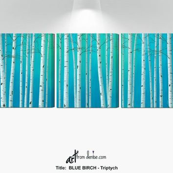 Aspen birch tree pictures, Large 3 piece wall art, Canvas set of three, Blue dining room pictures, Living room wall decor, Over bed art work