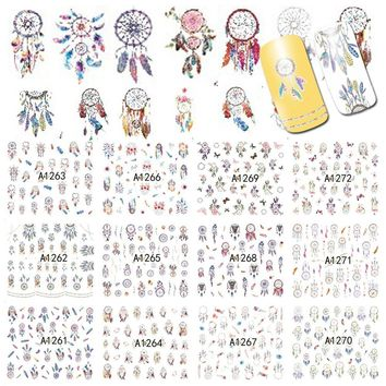 12 Designs Dream Cather Nail Art Beauty Water Transfer Decals Nail Sticker Tattoos Gel Polish DIY Charm Nail Foils A1261-1272