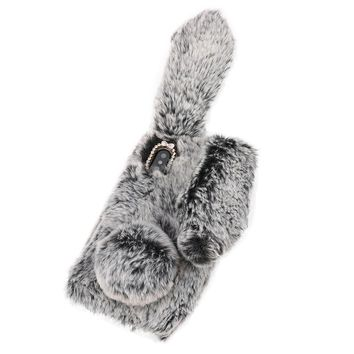 Carprie New Luxury Bling Diamond Bunny Rabbit Fur Plush Fuzzy Fluffy Soft Phone Case Cover For Iphone X 18Jan17 Drop Ship F