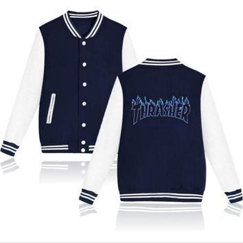 Thrasher flame special large size tide coat plus cashmere couple baseball clothing Black letters-2