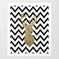 Glitter Deer Silhouette with Chevron Art Print by daniellebourland