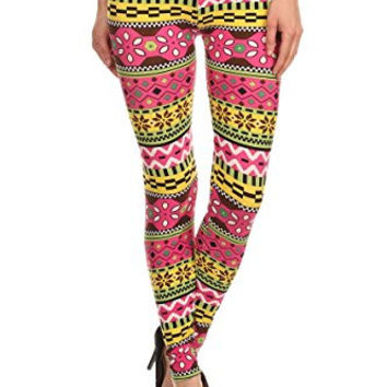Always Women's High Waisted Aztec Tribal Printed Leggings - Pink