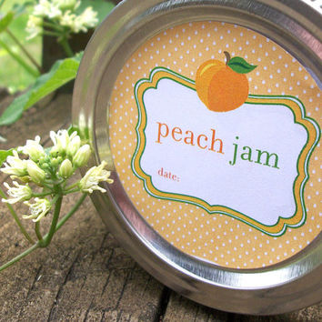Cute Peach Jam Canning jar labels 2 inch round for regular mouth jars, for food preservation, jam