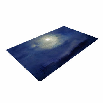 "Viviana Gonzalez ""Magnolia"" Blue Moonlight Woven Area Rug"