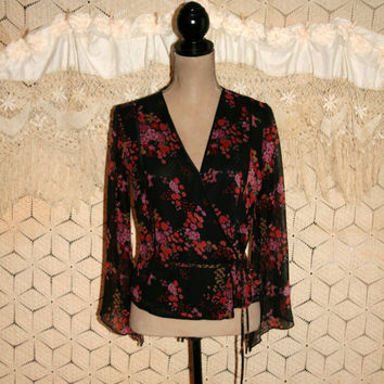 Silk Wrap Blouse Kimono Blouse Black Floral Blouse Silk Top Boho Clothing Bohemian Clothing Romantic Boho Top Small Medium Womens Clothing