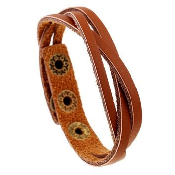 New Leather Wrap Braided Wristband Cuff Punk Men Women Bracelet Bangle