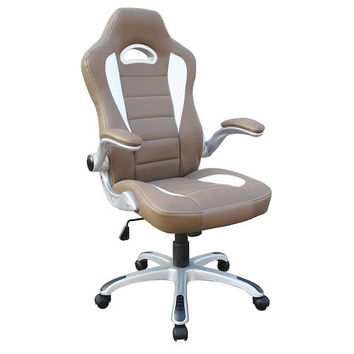 Techni Mobili Sport Race Executive Chair - Camel Brown and White