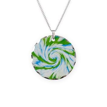 Groovy Turquoise Blue Swirl Necklace
